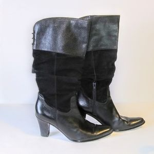 a.n.a. Leather Slouched Tassel Boot